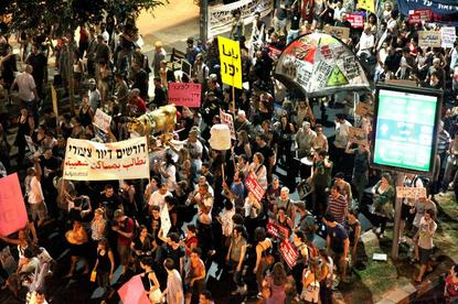 periphery block demonstration in Tel Aviv, September 2011